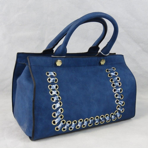 168 - Handbag. Blue with python effect ribbon detail, two handles, zip closure, two internal zip pockets a...