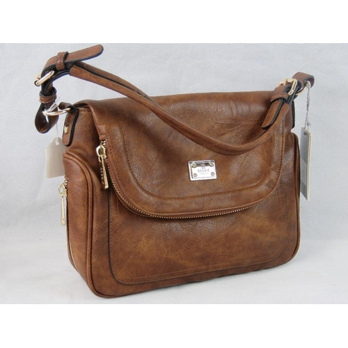 10 - Handbag. Brown with zip detailing, one handle, popper closure, internal zip pocket and two internal ...