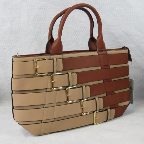 100 - Handbag. Brown and Taupe buckle design, two handles, zip closure, to internal zip pockets and two in...