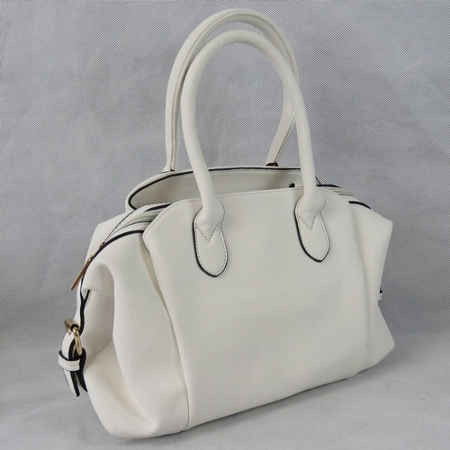 103 - Handbag. White with black piping, two handles, two compartments with popper closures, one compartmen...
