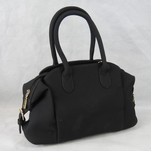 104 - Handbag. Black, two handles, two compartments with popper closures, one compartment with zip closure...