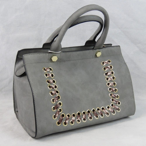 11 - Handbag. Grey with python effect ribbon detail, two handles, zip closure, two internal zip pockets a...
