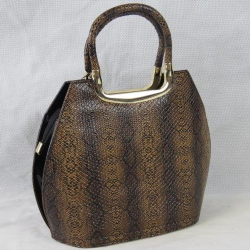 110 - Handbag. Bronze python effect, two handles, zip closure, two internal zip pockets and two open pocke...