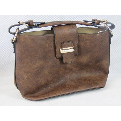 111 - Handbag with removable pouch. Brown, single handle,  clasp closure. Complete with removable pouch wi...