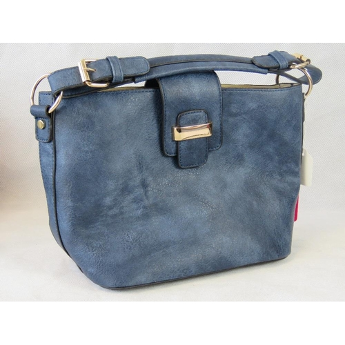 112 - Handbag with removable pouch. Navy, single handle,  clasp closure. Complete with removable pouch wit...