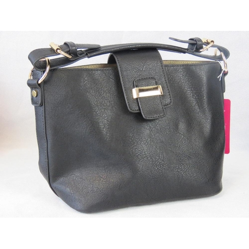 113 - Handbag with removable pouch. Black, single handle,  clasp closure. Complete with removable pouch wi...