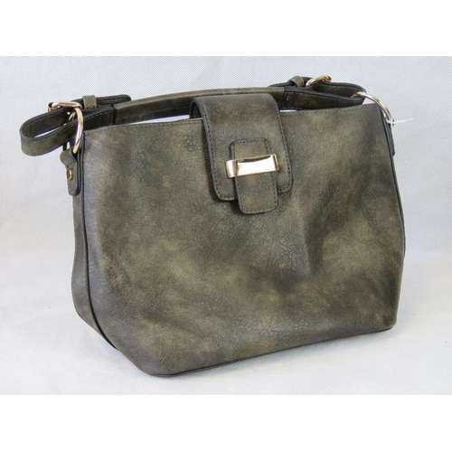 114 - Handbag with removable pouch. Dark grey/brown, single handle,  clasp closure. Complete with removabl...