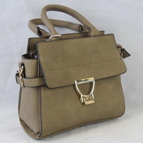 116 - Handbag. Taupe, two handles, zip closure, internal zip pocket and two open pockets, zip pocket to fr...