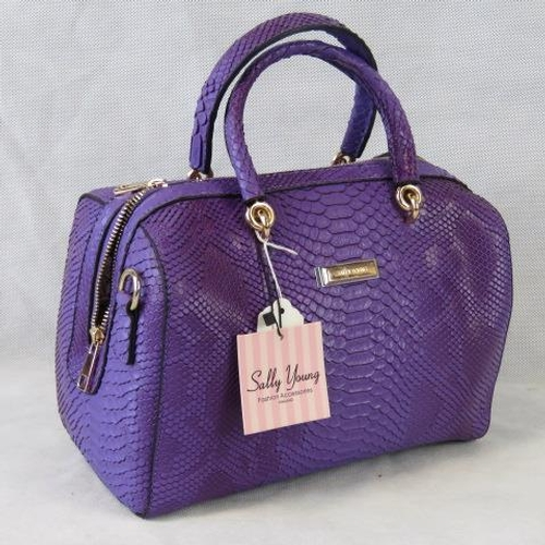 117 - Handbag. Purple python effect, two handles, zip closure, internal zip pocket and two internal open p...