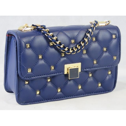 119 - Handbag. Blue with gold studs, single chain handle, clasp closure, internal zip pocket and internal ...