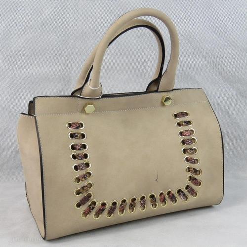 12 - Handbag. Grey with python effect ribbon detail, two handles, zip closure, two internal zip pockets a...