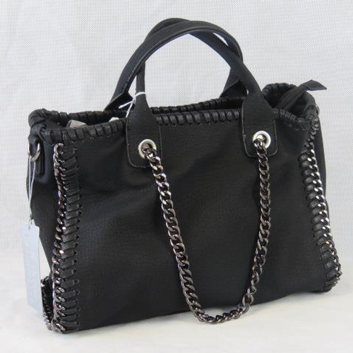 122 - Handbag. Black with black chain details, two handles, zip closure, two internal zip pockets and two ...