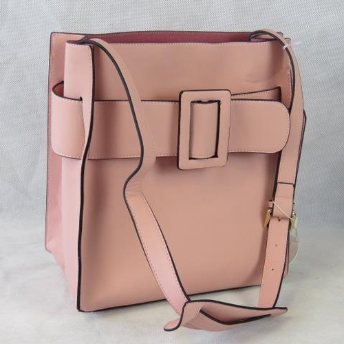 124 - Tote bag. Pink with buckle design, shoulder strap, drawstring and velcro closure, two internal zip p...