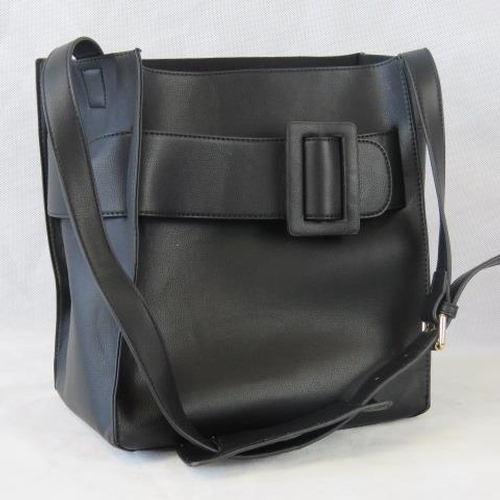 125 - Tote bag. Black with buckle design, shoulder strap, drawstring and velcro closure, two internal zip ...