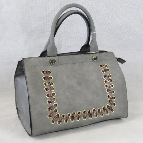 126 - Handbag. Grey with python effect ribbon detail, two handles, zip closure, two internal zip pockets a...