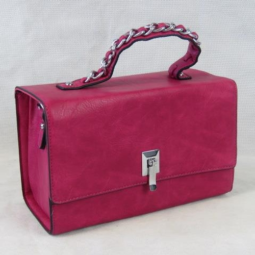 127 - Handbag. Pink, single handle, clasp closure, two internal zip pockets and two internal open pockets,...