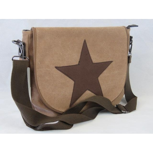 129 - Handbag. Brown canvas with star design, shoulder strap, zip closure, internal zip pocket and two int...