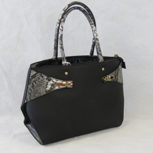 130 - Handbag. Black with python effect details, two handles, zip closure, two internal zip pockets and tw...