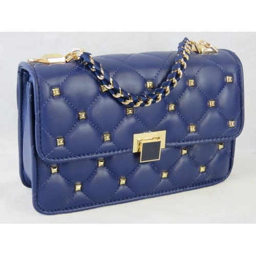 132 - Handbag. Navy with gold studs, single chain handle, clasp closure, internal zip pocket and internal ...