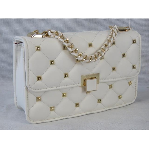133 - Handbag. White with gold studs, single chain handle, clasp closure, internal zip pocket and internal...