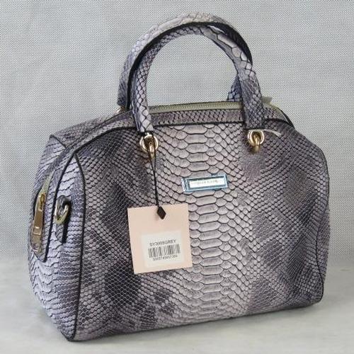 134 - Handbag. Grey python effect, two handles, zip closure, internal zip pocket and two internal open poc...