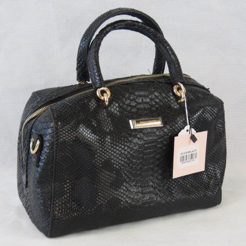 135 - Handbag. Black python effect, two handles, zip closure, internal zip pocket and two internal open po...