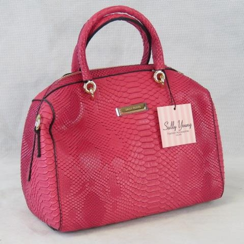 136 - Handbag. Pink python effect, two handles, zip closure, internal zip pocket and two internal open poc...