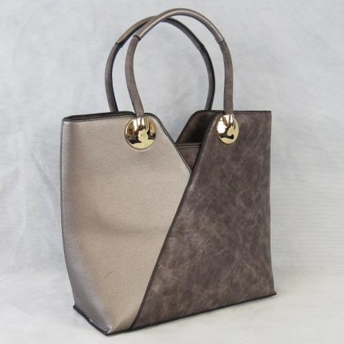 137 - Tote bag, Grey and metallic, two handles, zip closure, internal zip pocket and two open internal poc...