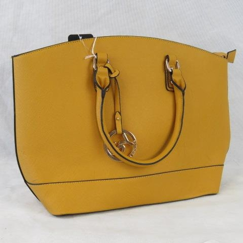 139 - Tote bag. Mustard yellow, two handles, zip closure, internal zip pocket and two internal open pocket...
