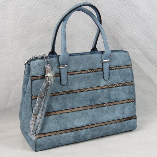 14 - Handbag. Blue with brown python effect stripes, two handles, three compartments with zip closures, t...