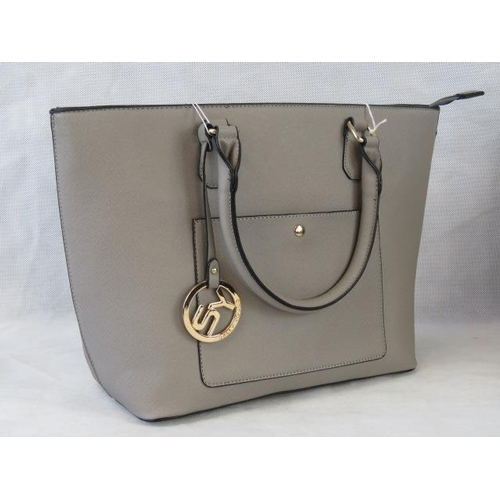 140 - Tote bag. Grey, two handles, zip closure, internal zip pocket and two internal open pockets, pocket ...