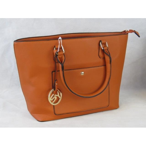 141 - Tote bag. Orange, two handles, zip closure, internal zip pocket and two internal open pockets, pocke...