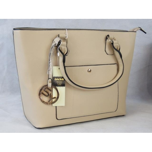 142 - Tote bag. Cream, two handles, zip closure, internal zip pocket and two internal open pockets, pocket...