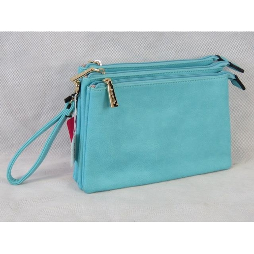 144 - Clutch bag. Turquoise, three zip closure compartments, one internal zip pocket and two internal open...