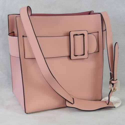 145 - Tote bag. Pink with buckle design, shoulder strap, drawstring and velcro closure, two internal zip p...