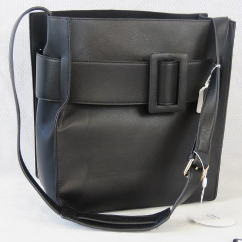 146 - Tote bag. Black with buckle design, shoulder strap, drawstring and velcro closure, two internal zip ...