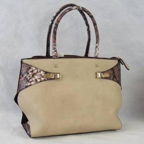 147 - Handbag. Taupe with python effect details, two handles, zip closure, two internal zip pockets and tw...