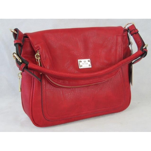 148 - Handbag. Red with zip detailing, one handle, popper closure, internal zip pocket and two internal op...