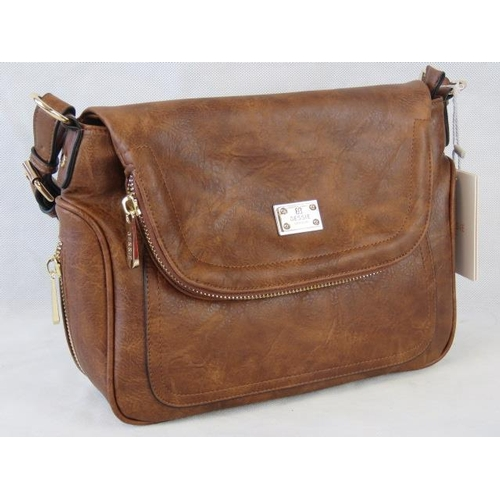 149 - Handbag. Brown with zip detailing, one handle, popper closure, internal zip pocket and two internal ...