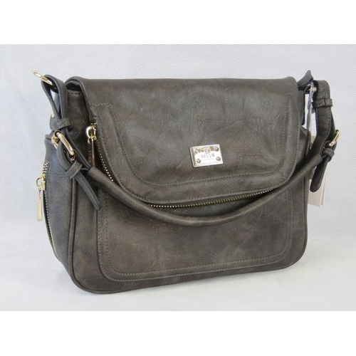 151 - Handbag. Dark grey with zip detailing, one handle, popper closure, internal zip pocket and two inter...