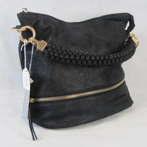 152 - Handbag. Black with piercing and zip detail, single braided handle, zip closure, two internal zip po...