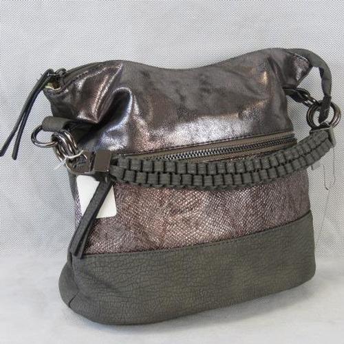 153 - Handbag. Grey and silver with zip detail, single braided handle, zip closure, two internal zip pocke...