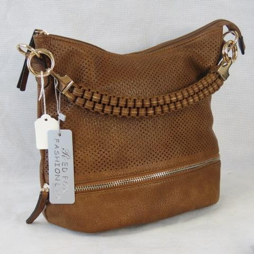 155 - Handbag. Tan with piercing and zip detail, single braided handle, zip closure, two internal zip pock...