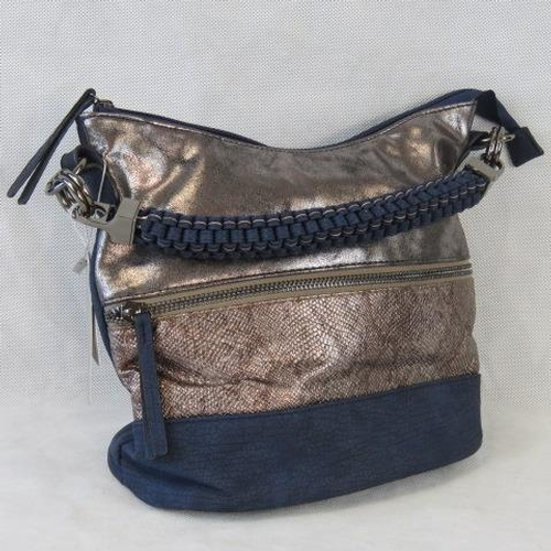 157 - Handbag. Navy and silver with zip detail, single braided handle, zip closure, two internal zip pocke...