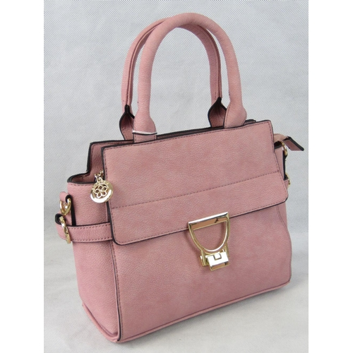 16 - Handbag. Dusky pink, two handles, zip closure, internal zip pocket and two internal open pockets, zi...