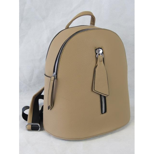 163 - Backpack. Taupe and black, zip closure, internal zip pocket, zip pockets to front and back, adjustab...