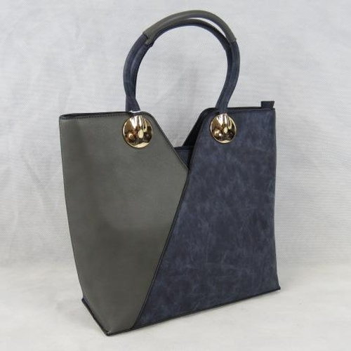 164 - Tote bag, Blue and metallic, two handles, zip closure, internal zip pocket and two open internal poc...