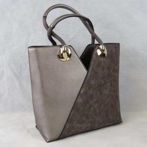 165 - Tote bag, Grey and metallic, two handles, zip closure, internal zip pocket and two open internal poc...