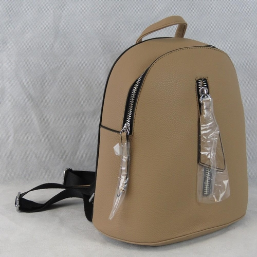 166 - Backpack. Taupe and black, zip closure, internal zip pocket, zip pockets to front and back, adjustab...