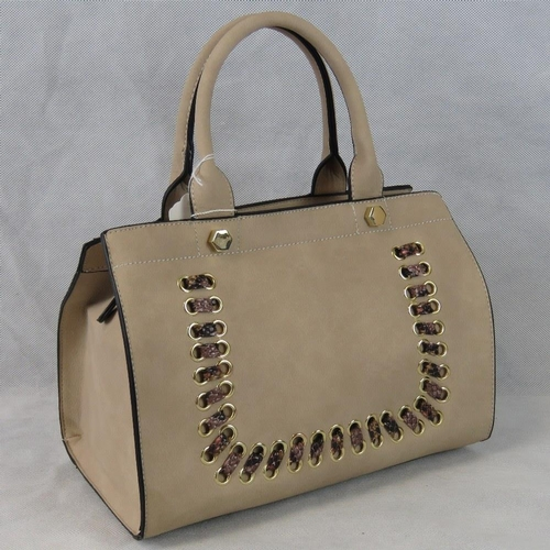 167 - Handbag. Taupe with python effect ribbon detail, two handles, zip closure, two internal zip pockets ...